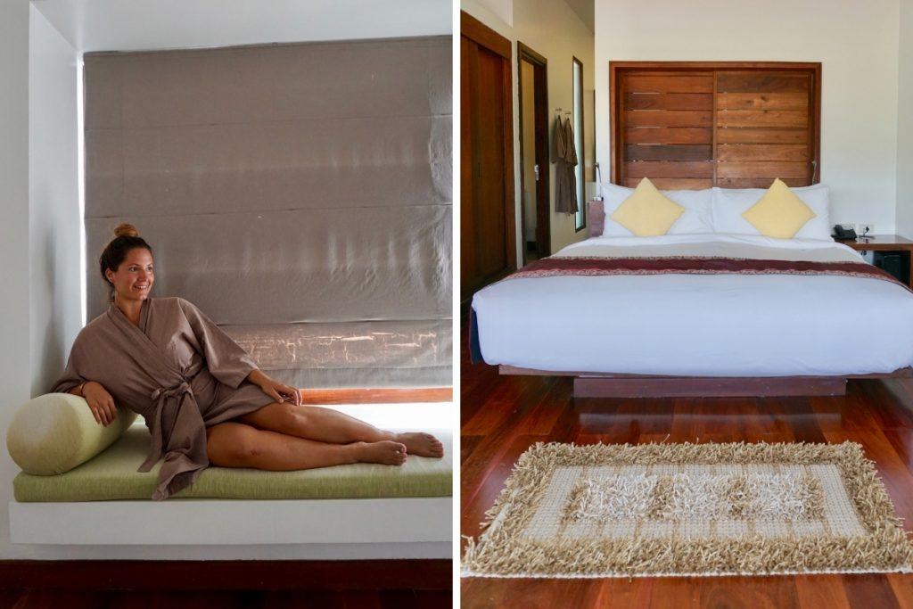 Girl in laos luxury hotel