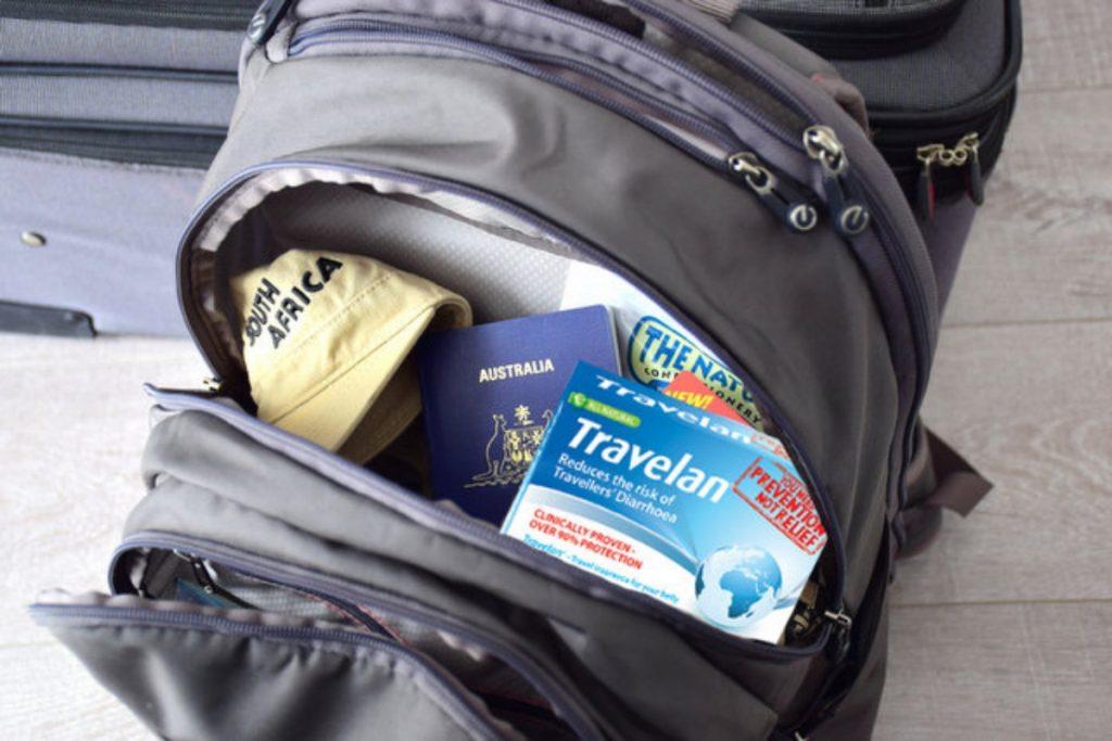 medicine in backpack